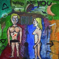 Acrylmalerei, Adam eva, Gott, Eden