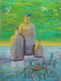 Flasche, Landschaft, Eis, Kälte