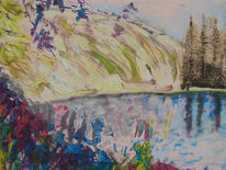 Landschaft, Saarschleife, Malerei, Fluss