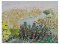 Malerei, Saarschleife, Landschaft, Ferne