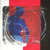 Grafik, Linoldruck, Spirale, Übermalung