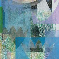 Flächenschichtung, Aquatinta, Mischdruck, Abstrakt