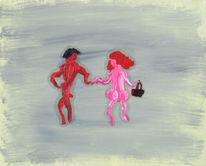 Paar, Flirt, Malerei, Suche