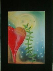 Malerei, Herz, Mond, Abstrakt