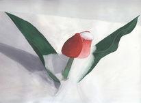 Malerei, Blumen, Schnee, Tulpen