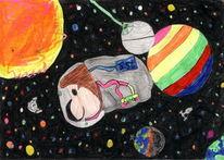 Kinderbild, Malerei, Universum, Igel
