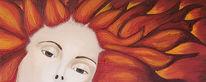 Feuer, Frau, Flammen, Malerei