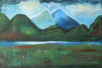 Grün, Landschaft, Berge, Malerei