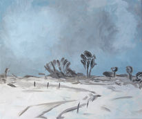 Baum, Winter, Malerei, Grau