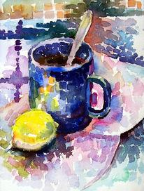 Malerei, Stillleben, Tee, Zitrone