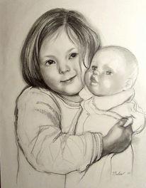 Portrait, Zeichnung, Zeichnungen, Puppe
