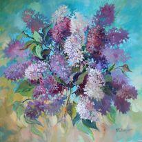 Blumen, Ölmalerei, Flieder, Malerei