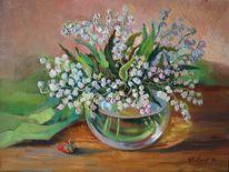 Ölmalerei, Stillleben, Maiglöckchen, Blumen