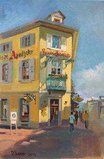 Straße, Ölmalerei, 2014, Malerei