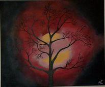 Mond, Wolken, Baum, Nacht