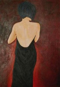 Rot schwarz, Malerei, Frau, Figural