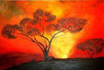 Baum, Glühen, Sonnenaufgang, Malerei
