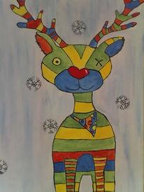 Bunt, Elch, Schneeflocken, Malerei