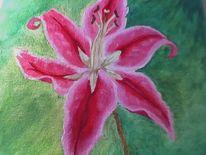 Grün, Lilie, Malerei, Acrylmalerei