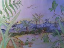 Landschaft, See, Berge, Malerei