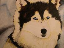 Wolf, Hund, Husky, Malerei