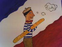 Flagge, Franzose, Malerei, Baguette