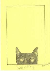 Neugier, Katze, Entdecker, Zeichnung