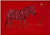 Afrika, Savanne, Zebra, Rot