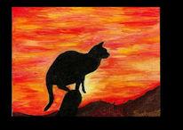 Malerei, Rot, Katze, Sonnenuntergang