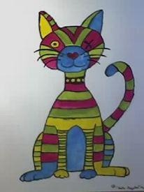 Bunt, Katze, Malerei, Tiere