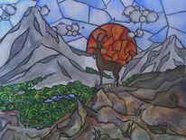 Steinbock, Berge, Wald, Malerei