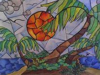 Palmen, Insel, Meer, Herz
