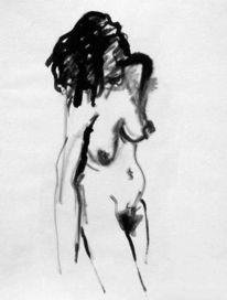 Zeichnung, Akt, Akt tusche, Tuschmalerei
