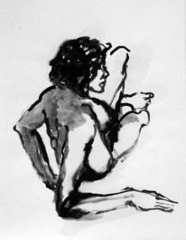 Zeichnung, Akt tusche, Tuschmalerei, Akt
