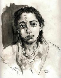Algerien, Menschen, Aquarellmalerei, Grafik