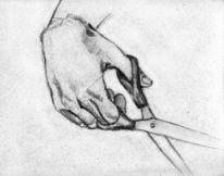 Skizze, Hand, Schere, Zeichnung