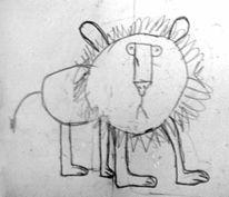 Kinder, Bleistiftzeichnung, Löwe, Kinderzeichnung
