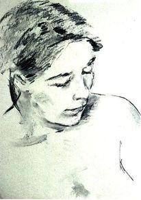 Zeichnung, Portrait, Skizze, Kohlezeichnung