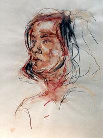 Portrait, Skizze, Buntstiftzeichnung, Zeichnung