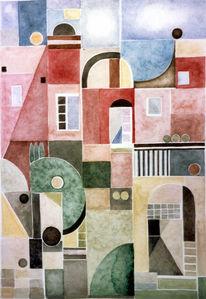 Malerei, Aquarellmalerei, Haus, Rot