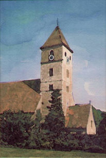 Grafik, Aquarellmalerei, Aquarell, Kirche