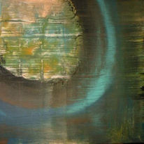 Abstrakt, Planet, Türkis, Acrylmalerei