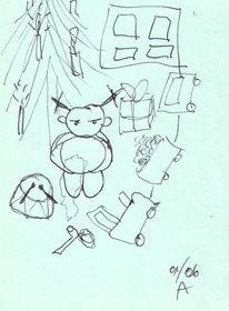 Tannenbaum, Trommel, Puppe, Fenster