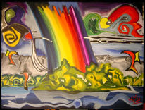 Malerei, Landschaft, Regenbogen