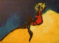 Blau, Locken, Abstrakt, Malerei