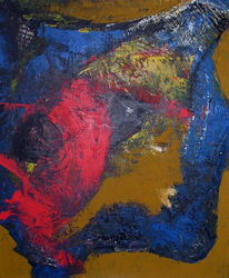 Abstrakt, Blau, Malerei, Rot