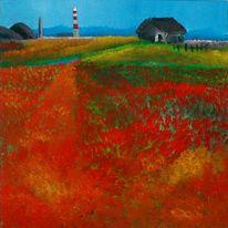 Mohn, Malerei, Luft, Landschaft