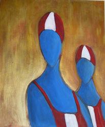 Freundin, Figural, Blau, Wasser