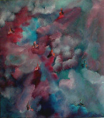 Wolken, Malerei, Haus, Landschaft