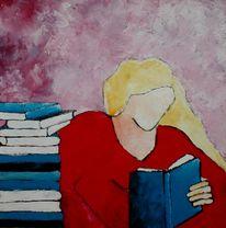 Figural, Blau, Buch, Malerei